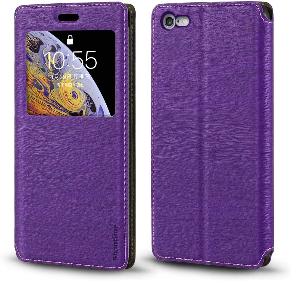 iPhone 6S Case, Wood Grain Leather Case with Card Holder and Window, Magnetic Flip Cover for iPhone 6S