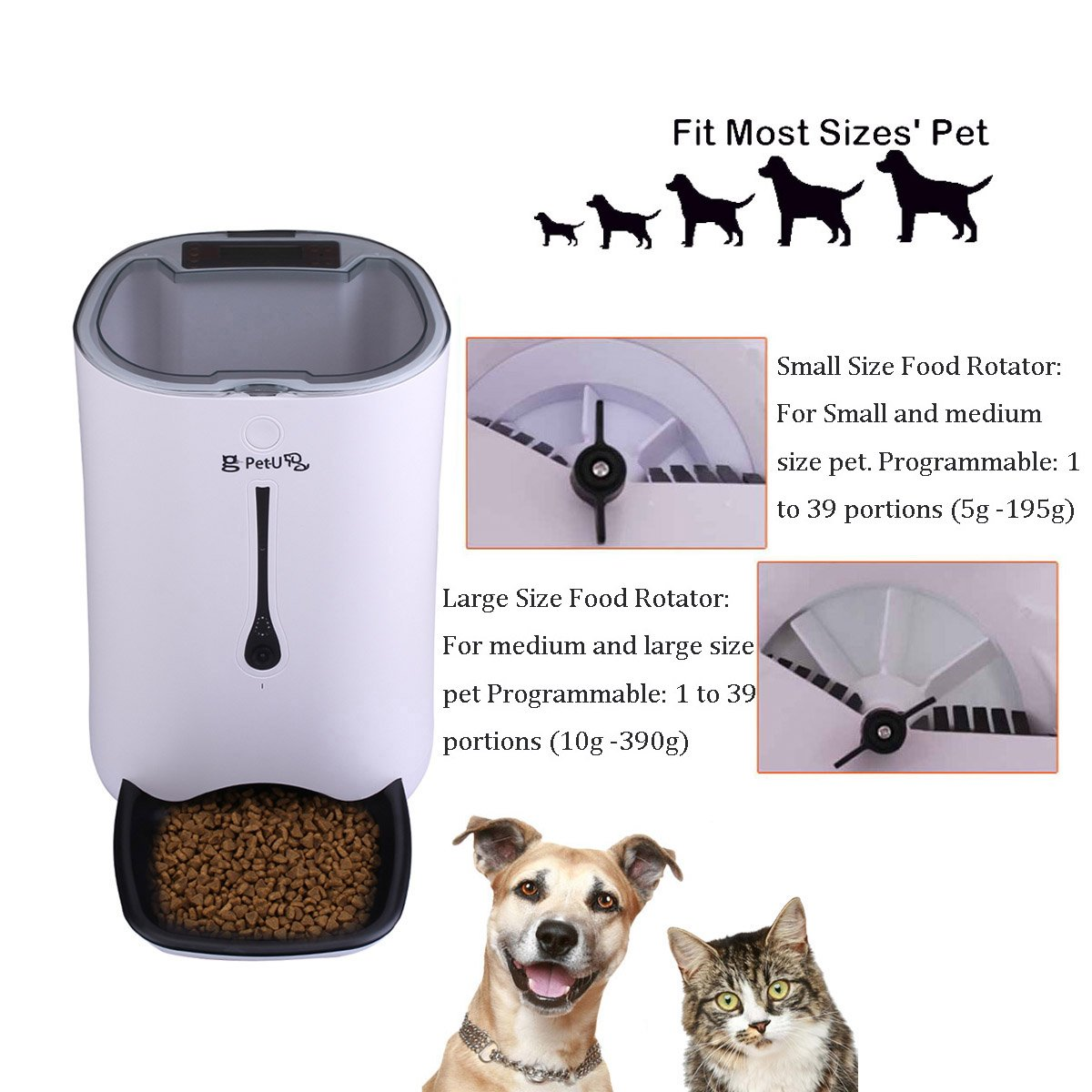 WESTLINK 7L Automatic Pet Feeder Food Dispenser for Cat Dog with Voice Recorder and Timer Programmable by WESTLINK (Image #3)