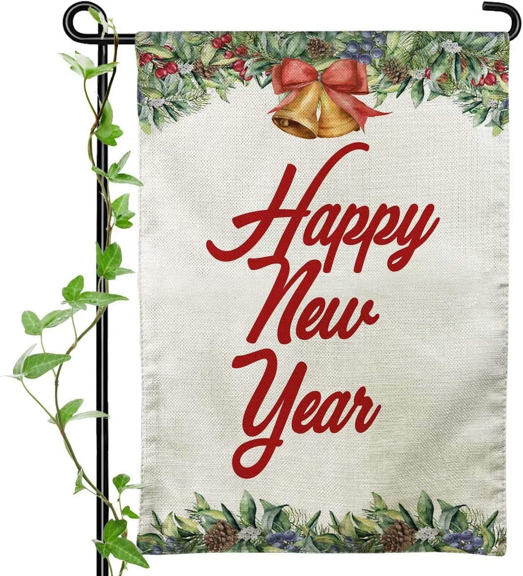 Happy New Year Garden Flag - Bells and Pine Cones - Winter Seasonal Outdoor Flags 12x18 Double Sided Small Garden Flag for Home House Lawn Patio Outside Decorations