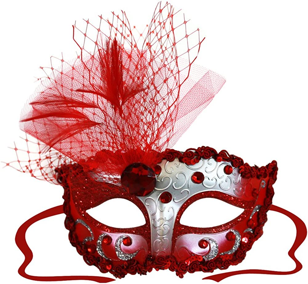 Red Masquerade Mask /& Diamante Satin Ribbon Ties Halloween Masquerade Balls Weddings New Year/'s Party Valentine/'s Gift  Christmas Party