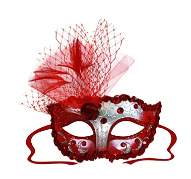 Elizabeth Red Silver Decorated Masquerade Mask For Women