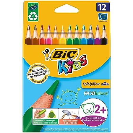 Bic Kids ECOlutions Evolution Buntstifte – Dreikant Farbstifte für Kinder ab 2 Jahren – Ergonomisch – Fördert richtige Handha