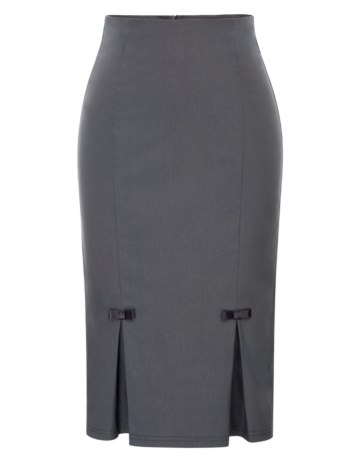 Belle Poque Gray Skirts Midi Wear to Work Skirts L BP587-2
