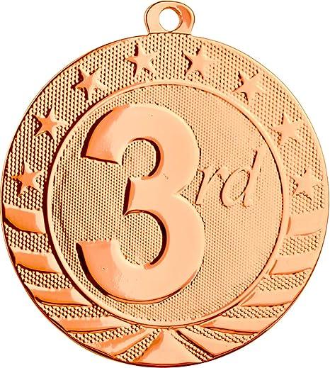 Express Medals Trofeo de 3er Lugar finalistas con Listones. Pack de 10 Grandes de Bronce 5.08 cm.: Amazon.es: Deportes y aire libre