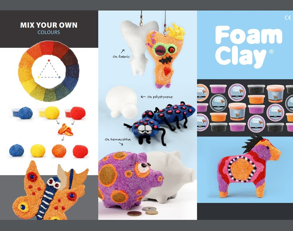 6 Bright Metallic Colour Foam Clay Tub Set for Kids /& Adults Modelling Crafts