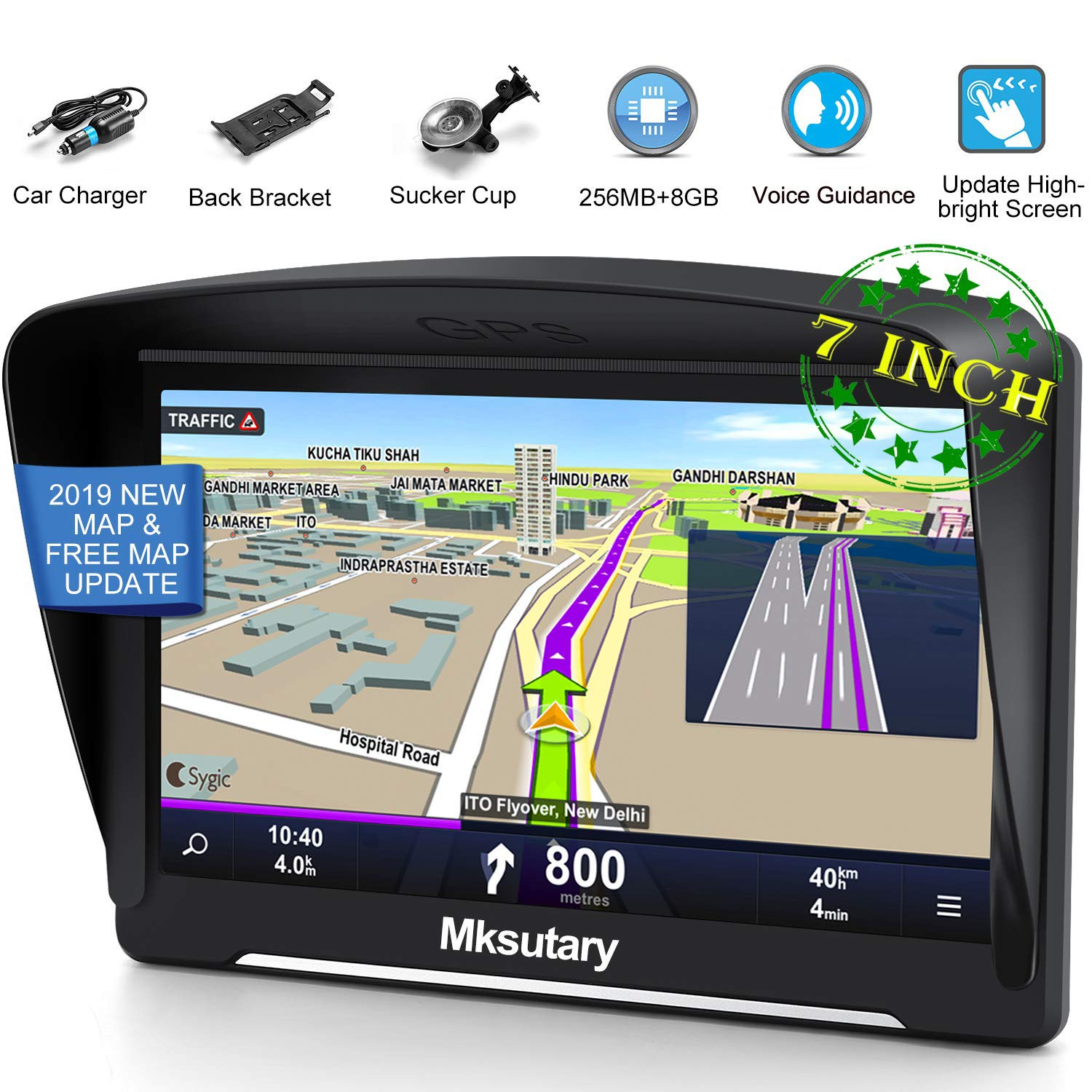 GPS Navigation for Car 2019, Mksutary 7 inch Highly-Brightness capacitive Touch Screen GPS, 8 GB Lifetime Map Update, Turn-by-Turn Direction Reminding Real Voice Spoken Navigation System for Car GPS by Mksutary