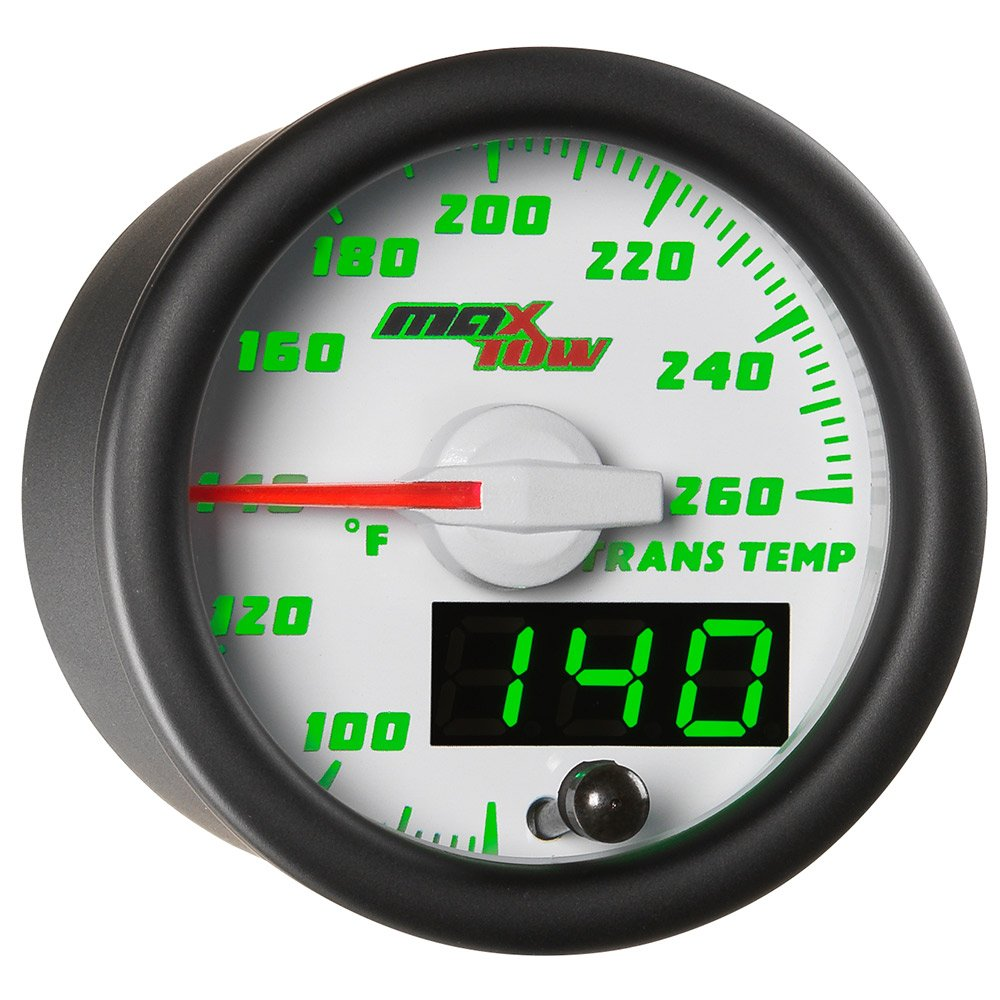 MaxTow Double Vision 260 F Transmission Temperature Gauge Kit - Includes Electronic Sensor - White Gauge Face - Green LED Illuminated Dial - Analog & Digital Readouts - For Trucks - 2-1/16' 52mm MT-WDV12