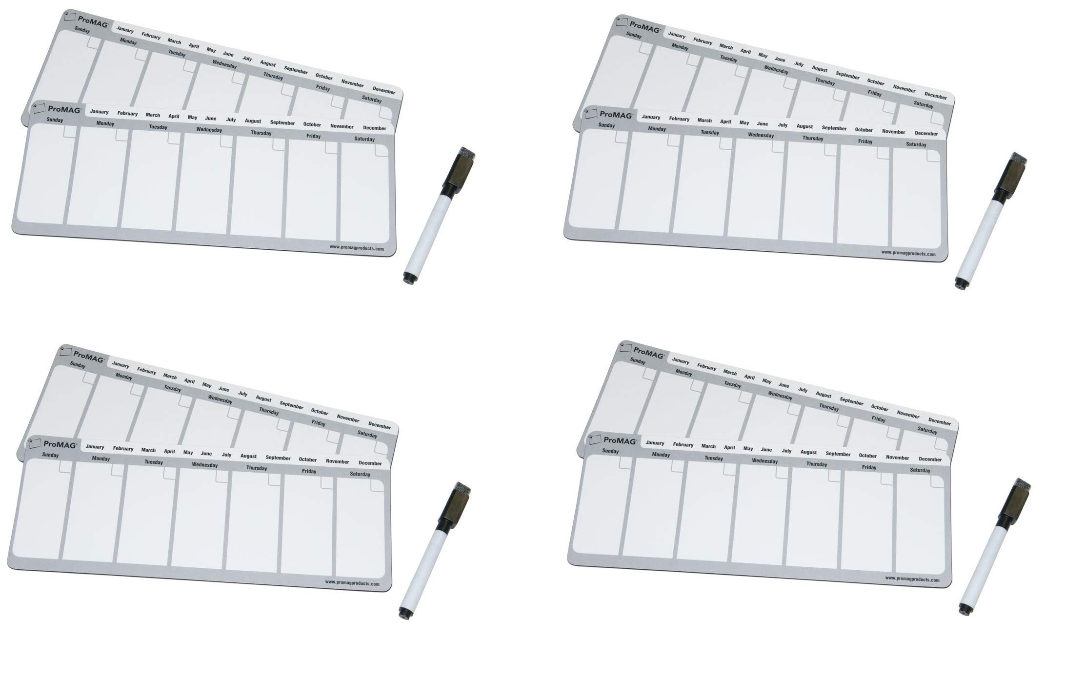 ProMAG 4.25 x 11 Inches Weekly Dry Erase Magnetic Calendar (Fоur Расk) by Magnum Magnetics-Corporation