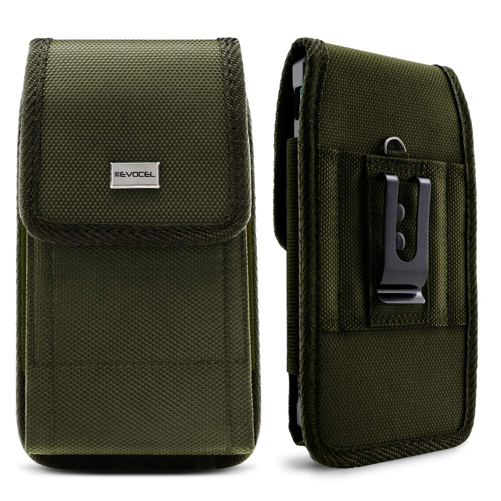 Evocel [Urban Pouch] Tactical Carrier with [Belt Loop & Holster] (6.10 in x 3.10 in x 0.37 in) fits Galaxy J7, Galaxy S7 / S6, LG K20 Plus, LG Stylo 3, HTC U11, T-Mobile REVVL & More, OD Green - Large