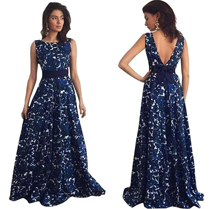 Finerione Sexy Women Floral Long Formal Prom Dress Party Ball Gown Evening Wedding Dress,Dresses