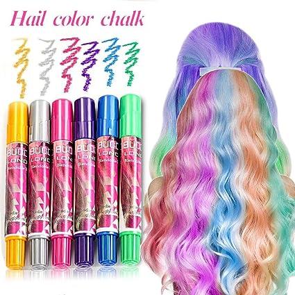 Hair Chalk Set, Temporary Hair Colour, Non-Toxic Instant Hair Coloring  Chalk Pens Set, Temporary Hair Chalks Colour Set for Makeup Hair Chalk Pens  for ...