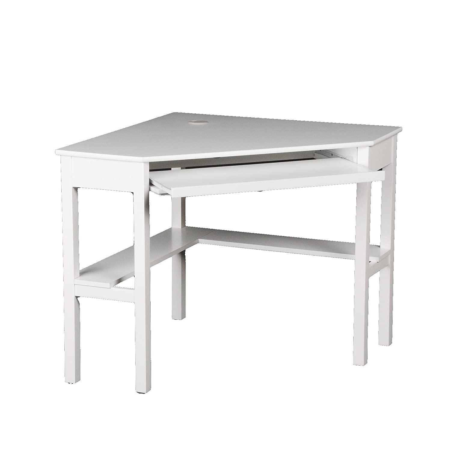 white office corner desk. Southern Enterprises Home Office Corner Computer Desk With Retractable Keyboard, Chic White: Amazon.co.uk: Kitchen \u0026 White