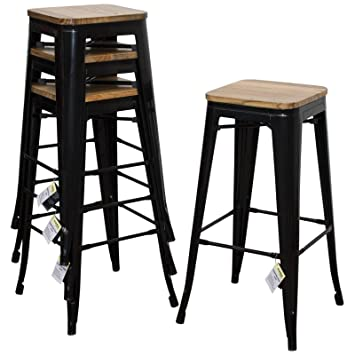 Admirable Marko Furniture Set Of 4 Black Metal Industrial Bar Stool Breakfast Kitchen Bistro Cafe Vintage Caraccident5 Cool Chair Designs And Ideas Caraccident5Info