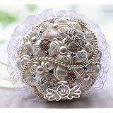 WTB di lusso in rilievo Handmade Spilla seta sposa sposa Bouquet da damigella d'onore del fiore artificiale della perla del merletto Maniglia (Ivory)