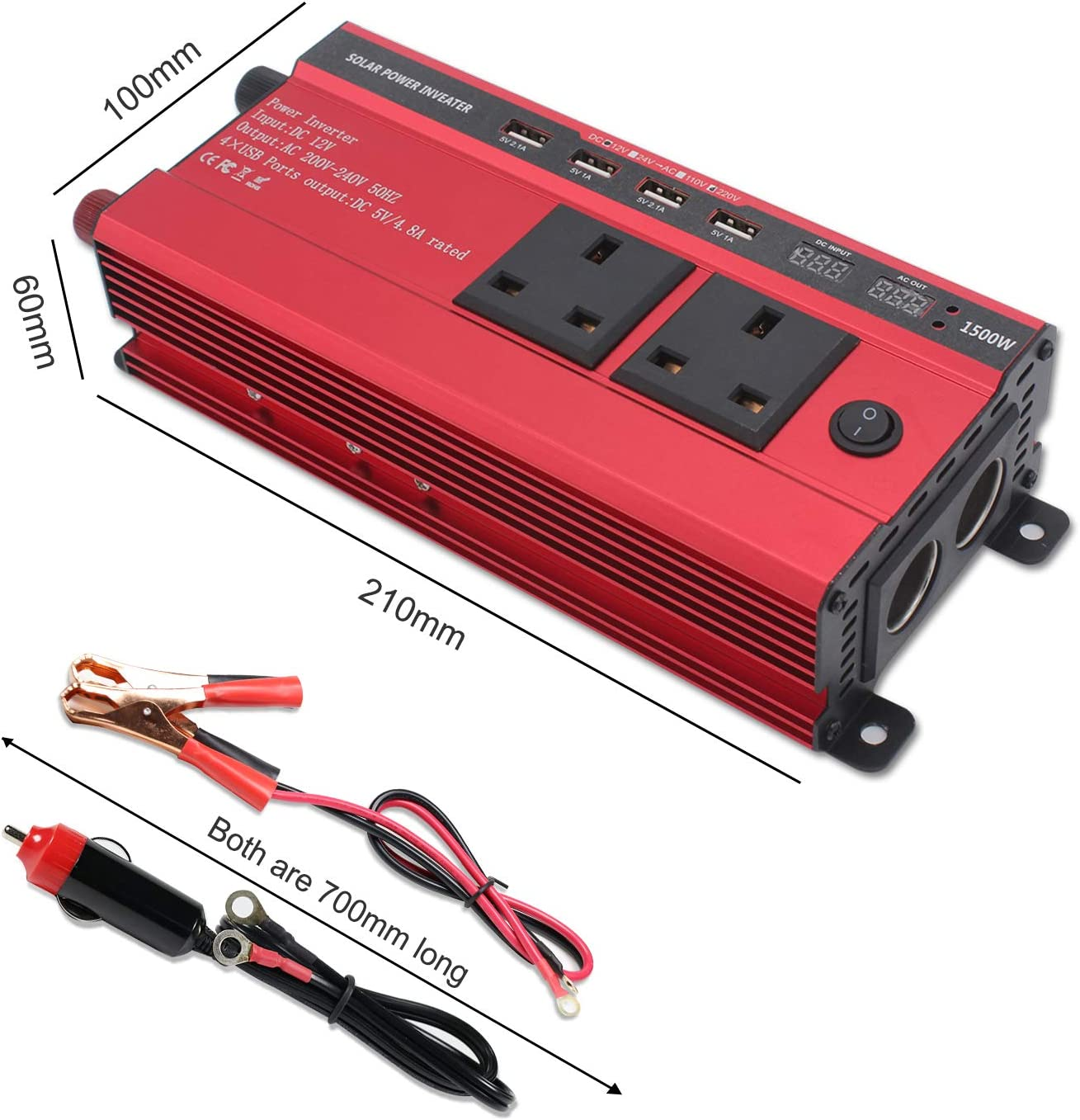 LVYUAN 1500W Power Inverter 12V to 240V AC Car Converter with 3.1A 4 USB 2 AC Sockets Car Adapter With LED Display