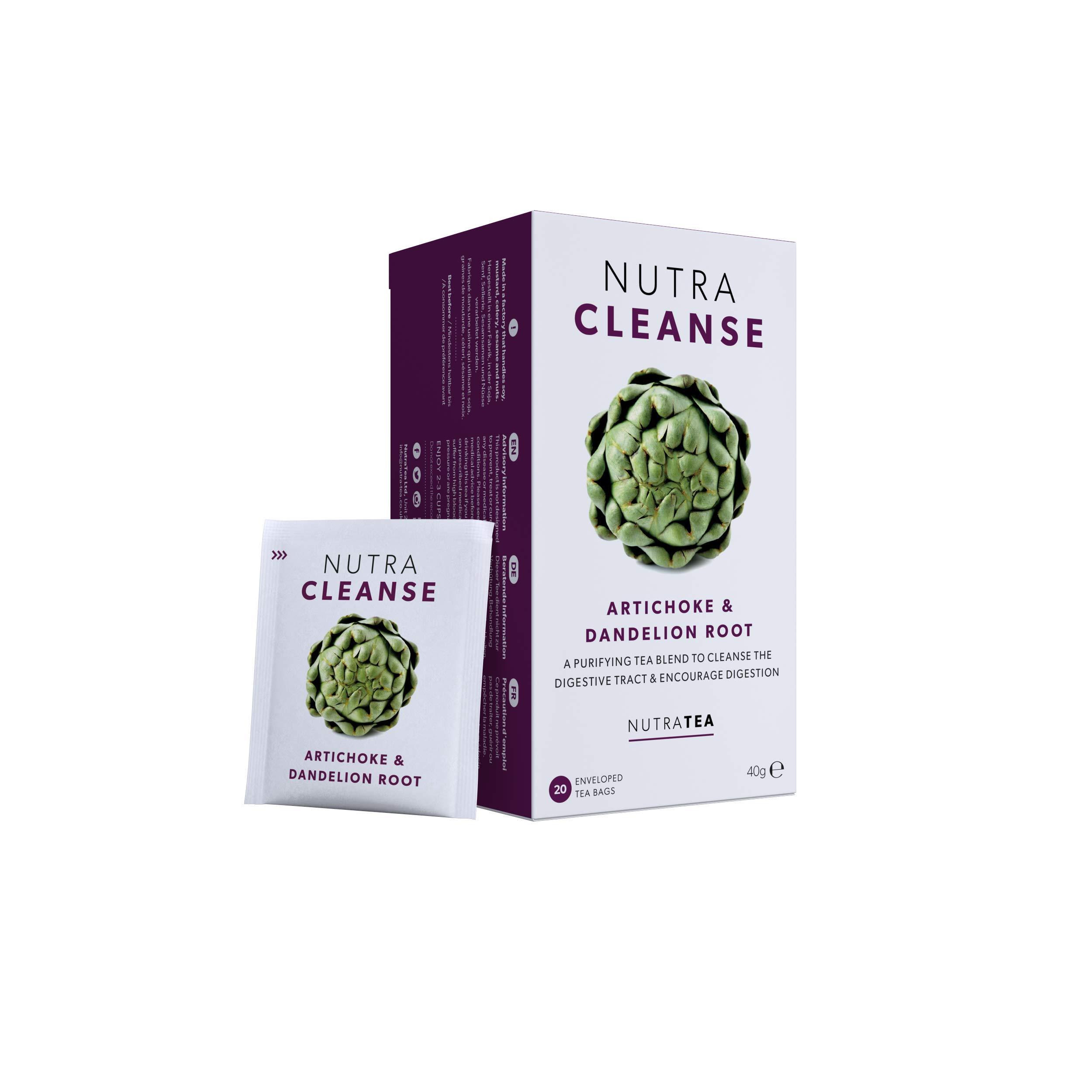 NUTRACLEANSE - Detox Tea   Cleanse Tea - Helps Relieve Constipation & Encourage Digestion - Includes Dandelion Root & Artichoke - 40 Enveloped Tea Bags - by Nutra Tea - Herbal Tea - (2 Pack)