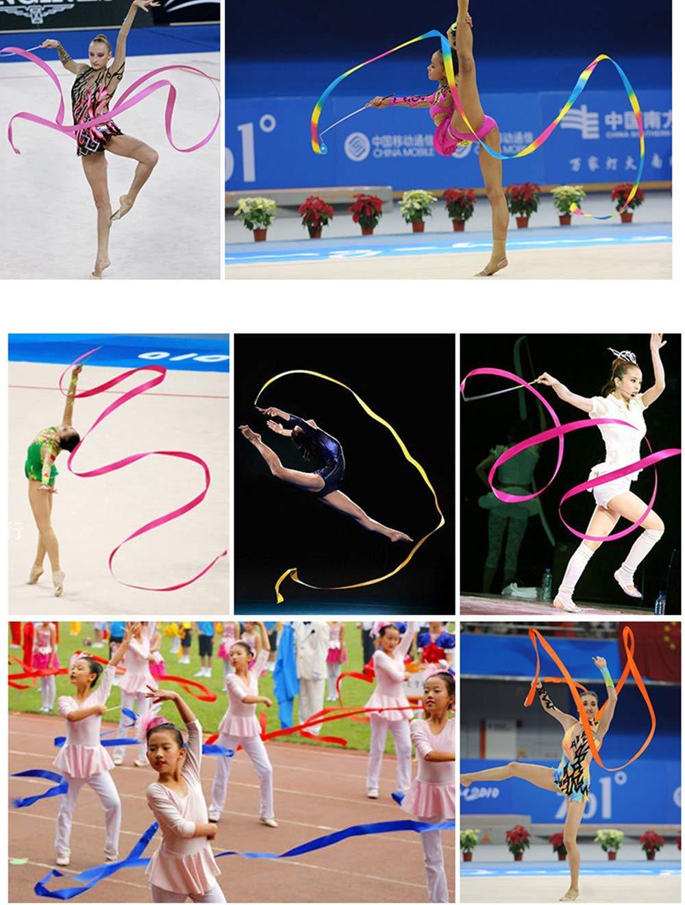 Saftybay 13-Feet Long Dance Streamers Ribbon Wands Gymnastic Rhythmic Ribbon Dance Ribbon with Stick Twirling 10PCS