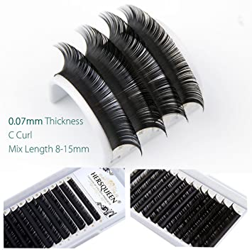 8ac622ed467 Individual Eyelashes Extensions Mix Length Salon Tray .07 C Curl D Curl  Russian Volume Lash