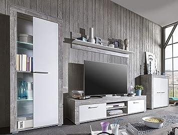 Wohnwand Bv Vertrieb Anbauwand Weiss Grau Beton Wohnzimmerschrank Tv