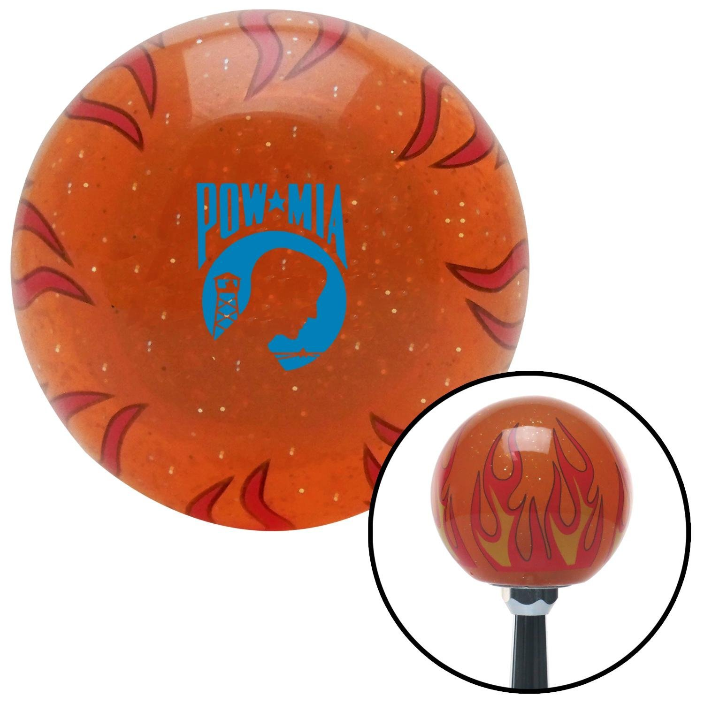 Blue Pow Mia Logo Orange Flame Metal Flake with M16 x 1.5 Insert American Shifter 299378 Shift Knob