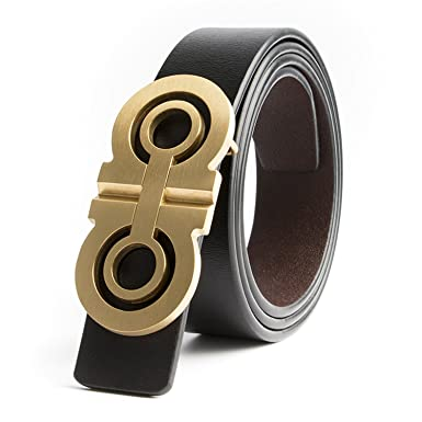 f8974357114 Saneoo Luxury Solid Brass Designer H Belts Men Male Women Genuine Real  Leather GG Double G Buckle Strap For Jeans at Amazon Men s Clothing store