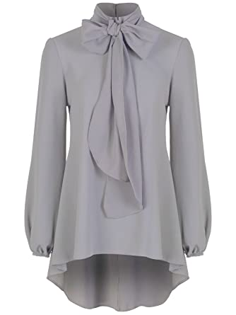 41c7609114 Ladies Elegant Classic Light Grey Chiffon Crepe Pussy Bow Tie Neck Blouse  Shirt Top (08