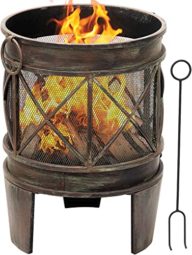Amagabeli Fire Pit Outdoor Wood Burning 23in Cast Iron Firebowl Fireplace Heater Log Charcoal Burner Extra Deep Large Round Camping Outside Patio Backyard Deck Heavy Duty Metal Grate Bronze