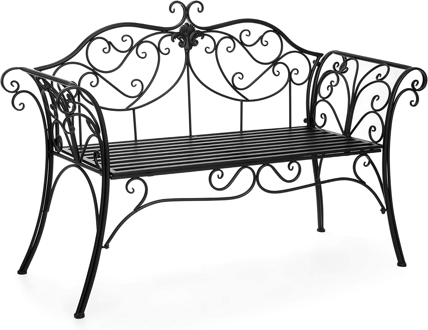 Best Choice Products 52in 2-Person Decorative Scroll Metal Patio Garden Bench Furniture w Armrests – Black