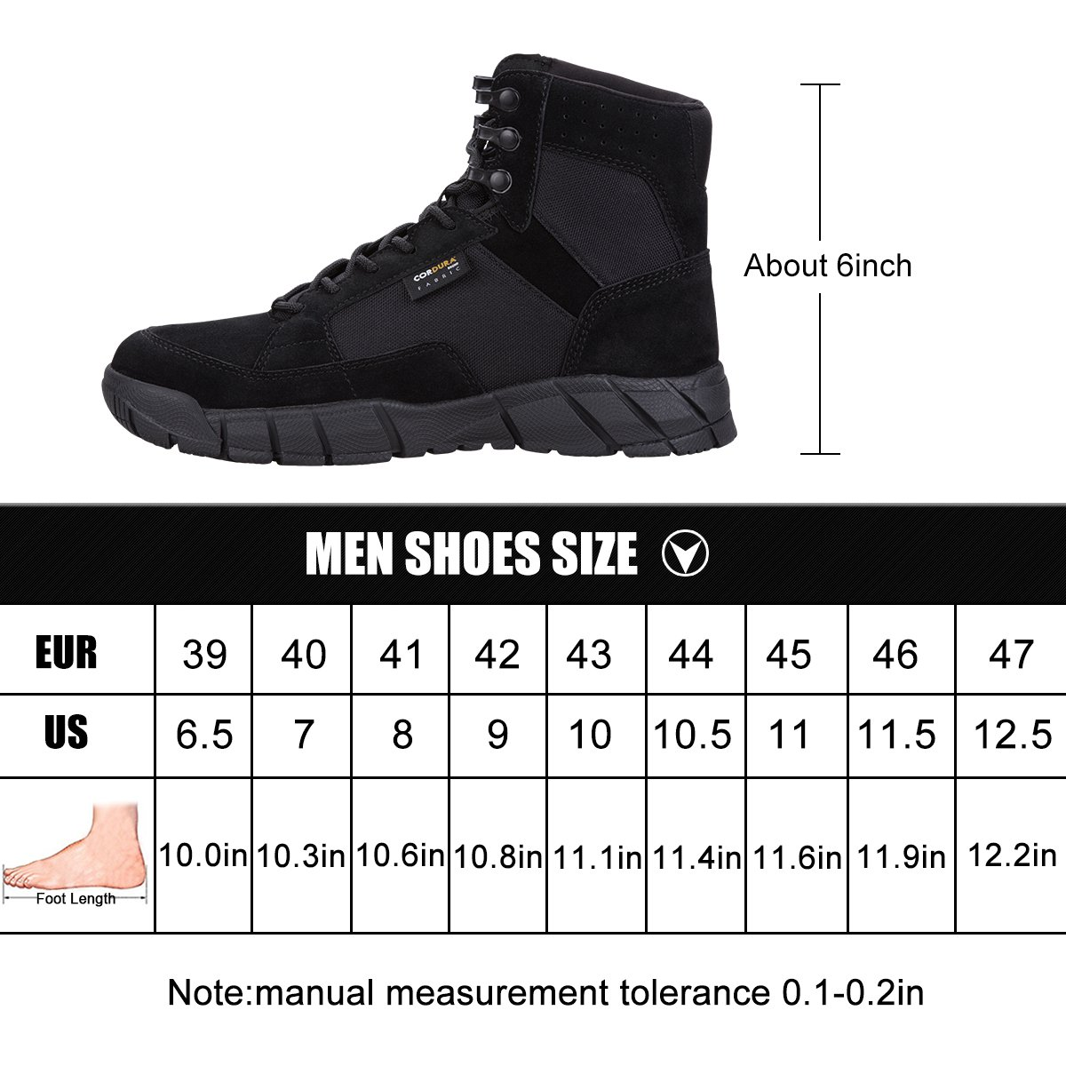 Men's Tactical Boots 6'' inch Lightweight Military Boots for Hiking Work Boots Breathable Desert Boots (Black, 8) by FREE SOLDIER (Image #7)