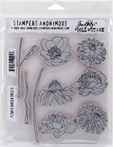 Stampers Anonymous Tim Holtz Cling Rubber Flower Garden Stamp Set, 7 x 8.5""