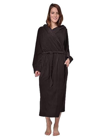 RAIKOU Ladies Luxury Soft Micro Fleece Bath Robe Loungewear Dressing Gown  Wrap Housecoat Bathrobe with Hood Spa Microfibre Fleece Ankle Length  Nightwear ... 9de4be0b1