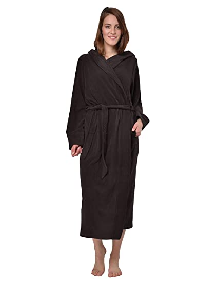 4cd2bd14fb RAIKOU Ladies Luxury Soft Micro Fleece Bath Robe Loungewear Dressing Gown  Wrap Housecoat Bathrobe with Hood Spa Microfibre Fleece Ankle Length  Nightwear ...