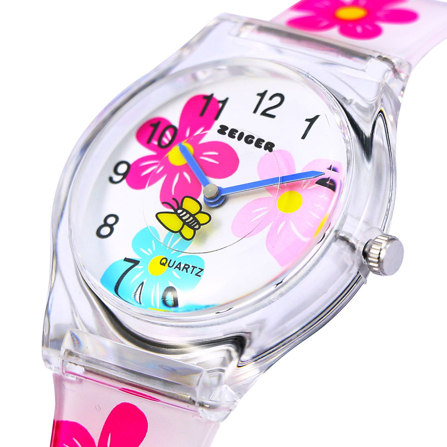 Colorful Flower Resin Band Zeiger Time Teacher Teen Young Girls Children Kids Watches