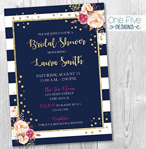 navy gold glitter pink blush fuchsia stripes bridal shower invitation with flowers printable 5x7