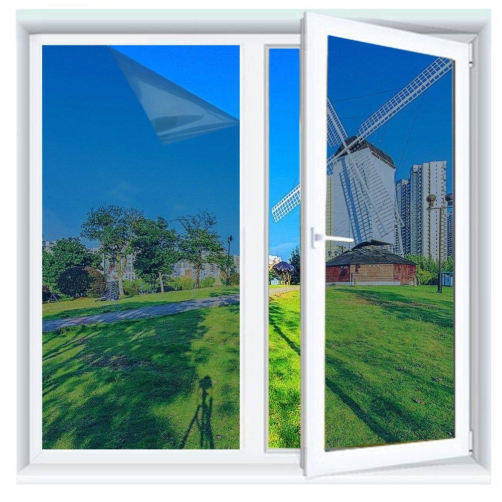 Queta Graz Design Film décoratif Autocollant pour fenêtre Motif Bleu/argenté 50 x 200 cm