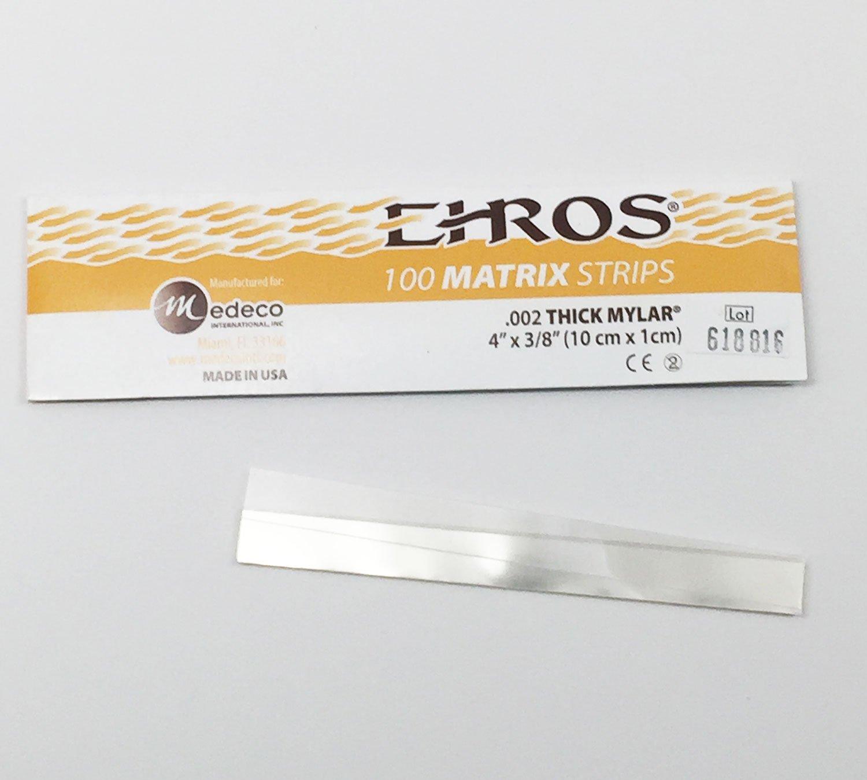 100 Dental Mylar Matrix Strips 4'' X 3/8'' (.002 THICK MYLAR)
