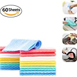 Jebblas Cleaning Towels Dish Towels and Dish Cloths Reusable Towels,Handy Cleaning Wipes, 5 Colors, 60 Sheets/Pack, Great Dish Towel, Disposable, Absorbent, Dry Quickly