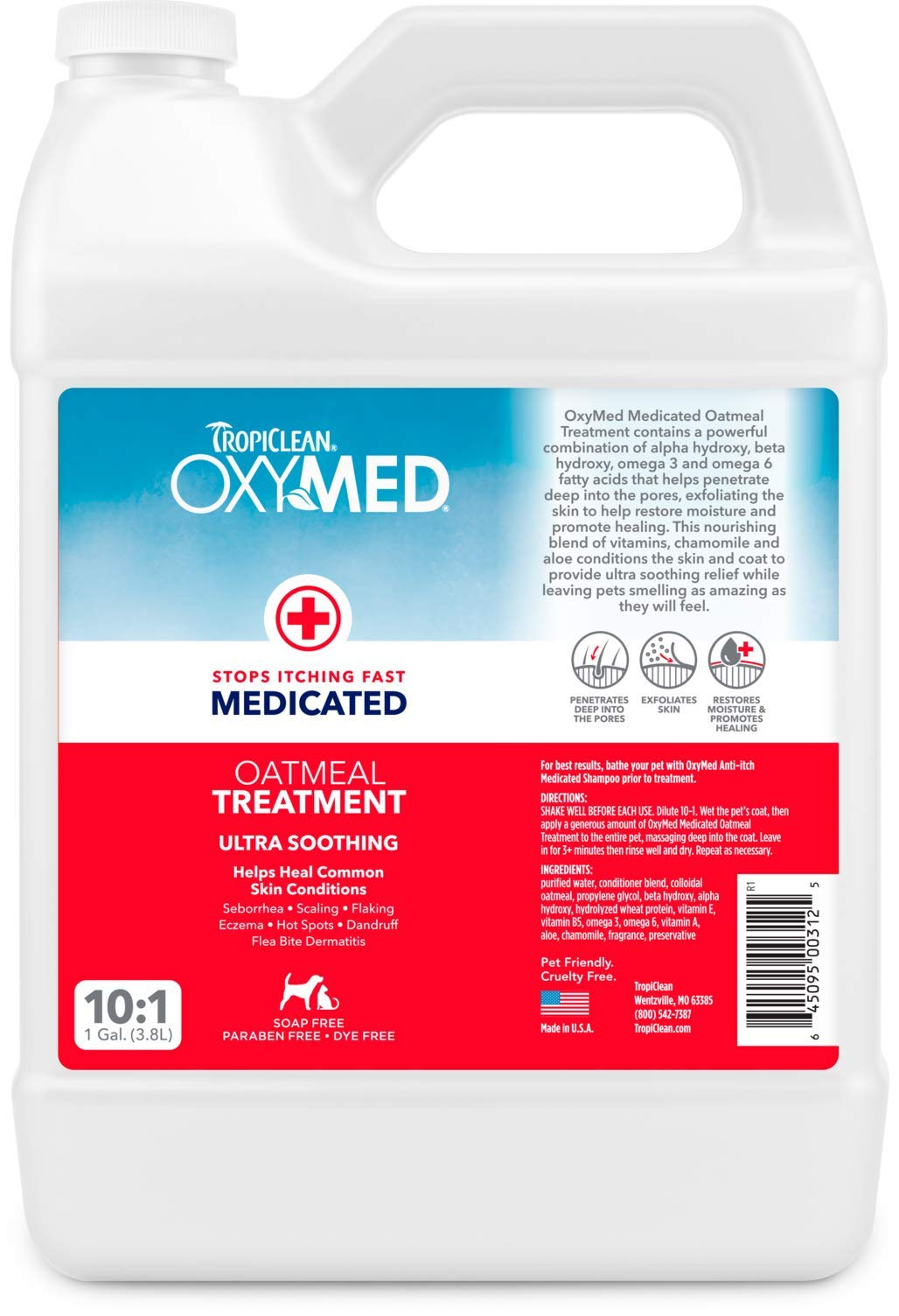 TropiClean OXYMED Medicated Treatment for Pets, 1 Gallon
