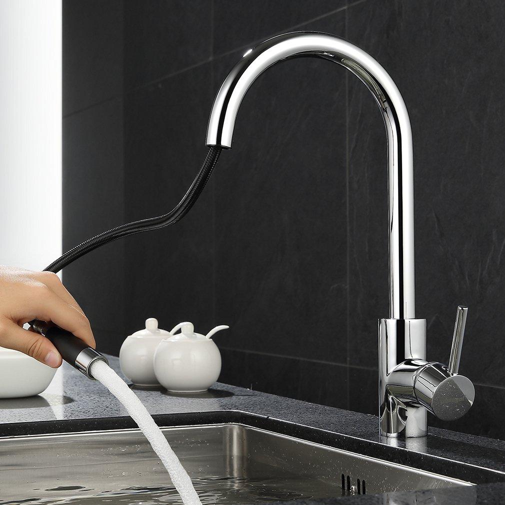 ubeegol Chrom Wasserhahn Küche mit Brause Küchenarmatur Ausziehbar ...