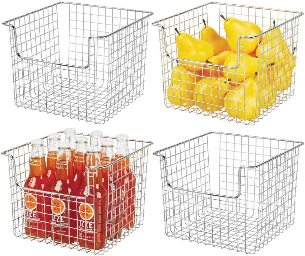 "mDesign Metal Wire Open Front Organizer Basket for Kitchen Pantry, Cabinet, Shelf - Holds Canned Goods, Baking Supplies, Boxed Food Mixes, Fruits, Vegetables, Snacks - 10"" Wide, 4 Pack - Chrome"