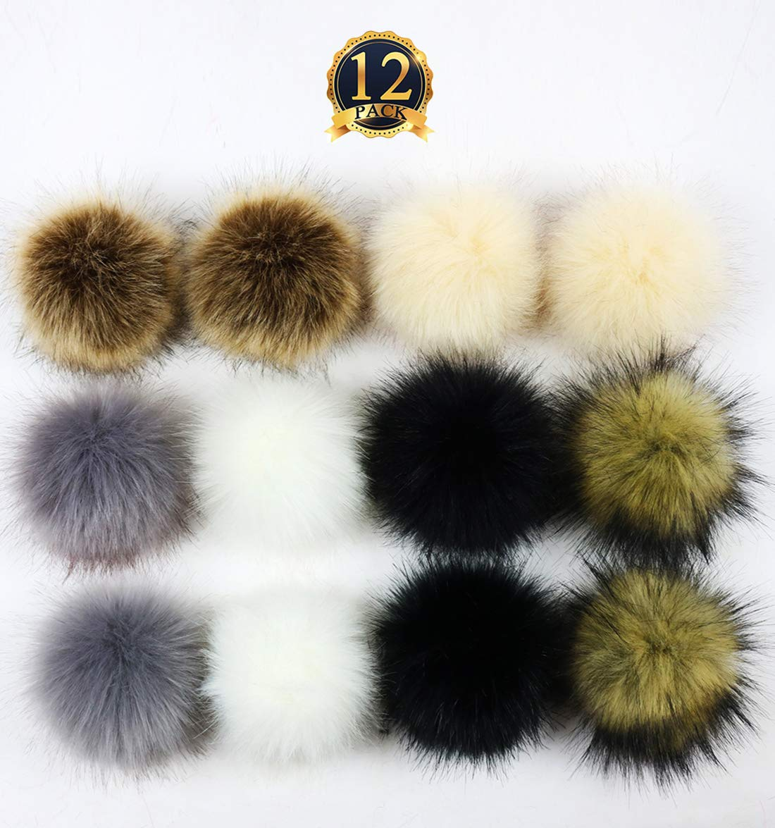 Faux Fur Pom Pom Ball Fluffy Pompoms with Elastic Loop for DIY Hats Beanies Shoes Scarves Gloves Bag Keychain Charms Knitting Accessories 12 Pieces