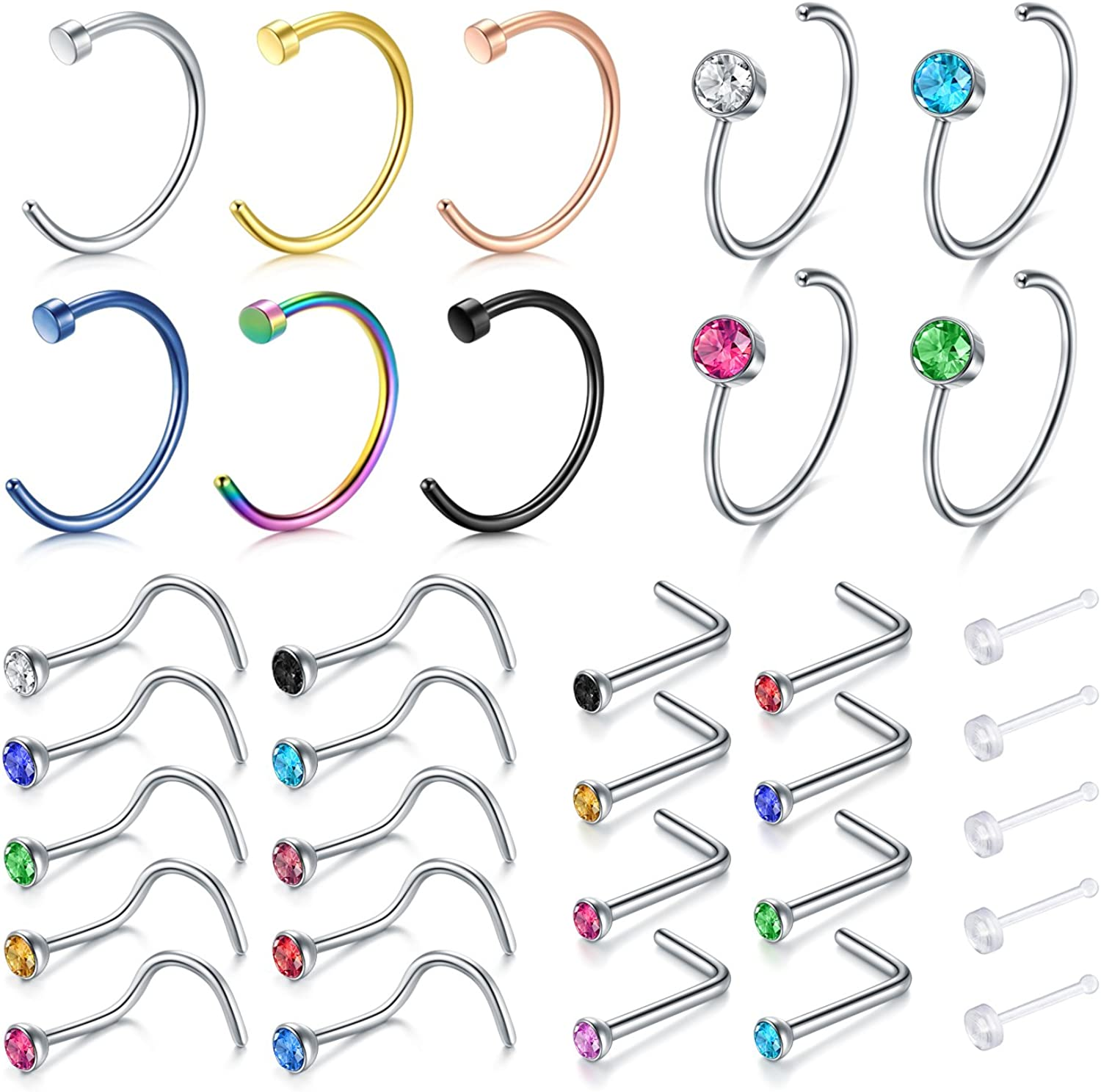 Zolure 18 Gauge Nose Rings Hoop Nose Screw Studs Set Stainless Steel Fake Nose Piercing Jewellery 16-28PCS