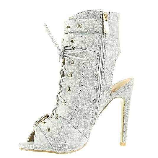 Angkorly - Chaussure Mode Bottine Sandale stiletto ouverte femme boucle métallique Talon haut aiguille 12 CM - Gris - C-230 T 41 WuzHn