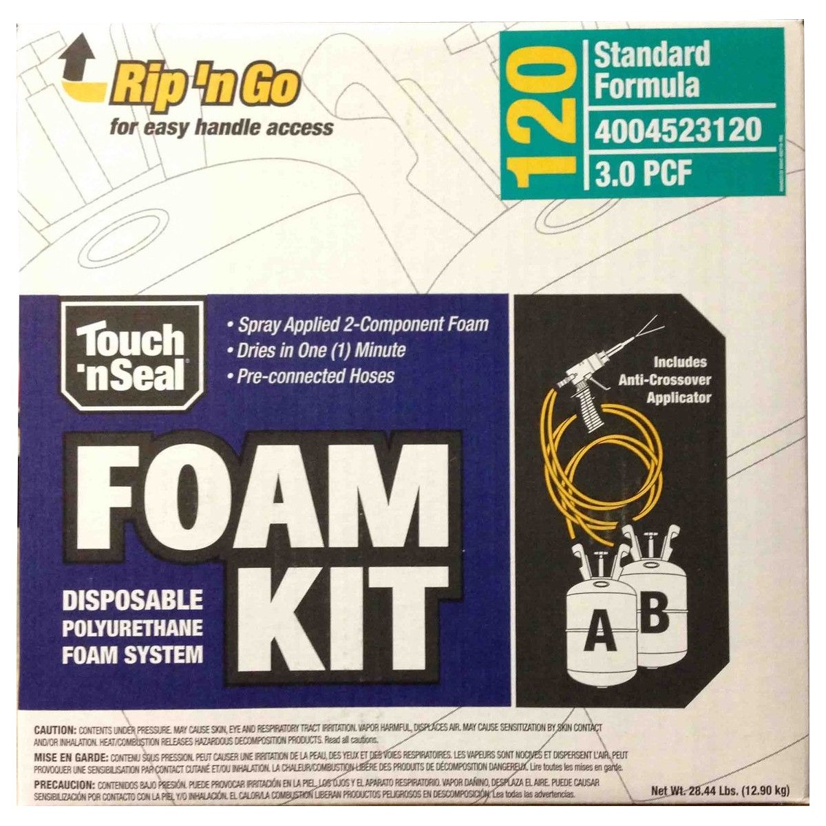 Touch n' Seal High Density Spray Foam Roof Insulation Kit 3.0 PCF Closed Cell Foam - 120 BF by Convenience Products