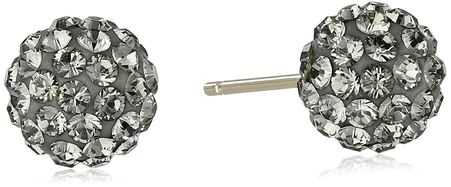 14k Yellow Gold with Swarovski Crystal Elements Button Stud Earrings Amazon Collection 36/N57SKI