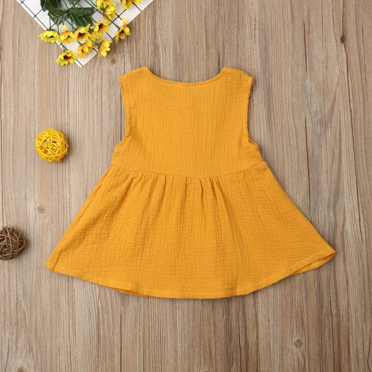 Karuedoo Toddler Baby Girls Cotton Sleeveless Button Princess Playwear Casual Dress
