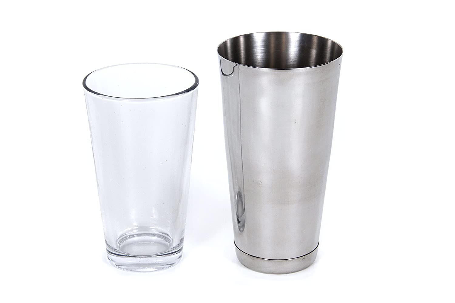 CucinaPrime Cocktail Shaker Set 16 Ounce Glass and 30 Ounce Stainless Steel Cup 2 Piece Set