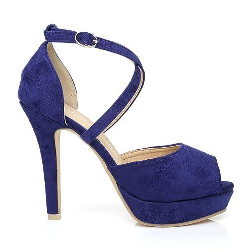 CROSS Electric Blue Microfibre High Heels Platform Peep Toe Sandals