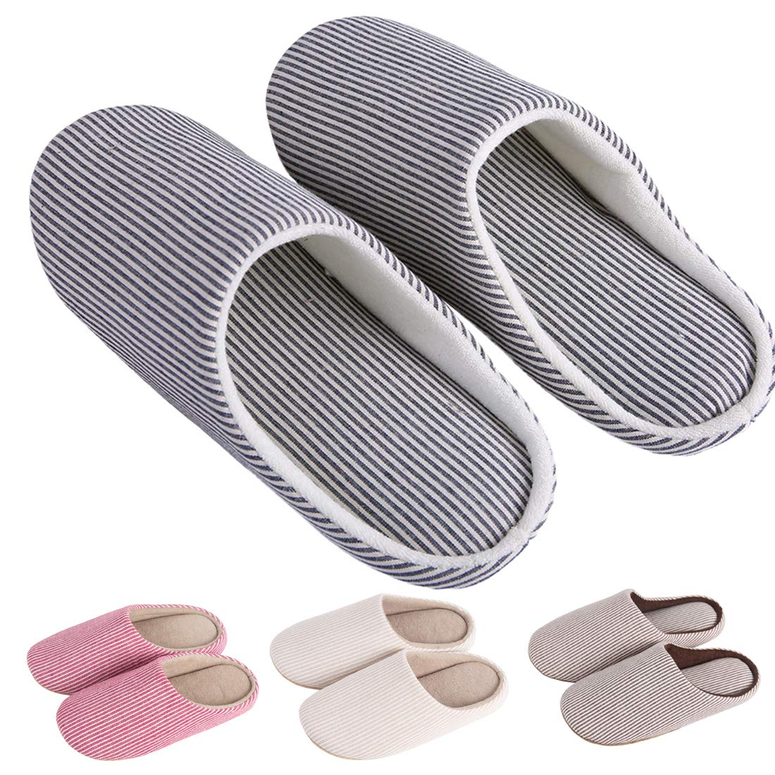 KRIMUS Indoor Slippers |Striped Slippers| Slippers for Women|Slippers for Men|Couple Slippers(Navy Blue-XL)