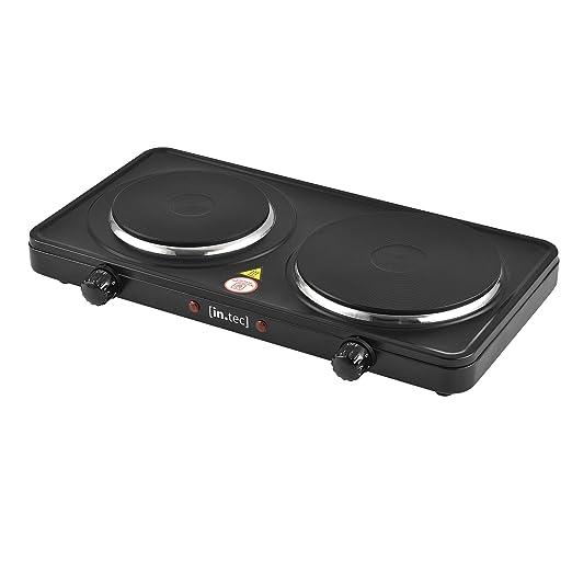 [in.Tec] Placa eléctrica de la Cocina con Dos Placas Doble Portátil Hornillo eléctrico 2500 W Hierro Fundido Placa de cocción